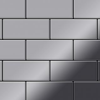 Mosaik Fliese massiv Metall Edelstahl hochglänzend in grau 1, 6mm stark ALLOY Subway-S-S-M 0, 58 m2