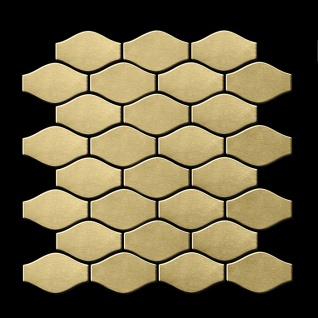 Mosaik Fliese massiv Metall Titan gebürstet in gold 1, 6mm stark ALLOY Karma-Ti-GB Designed by Karim Rashid 0, 86 m2 - Vorschau 3