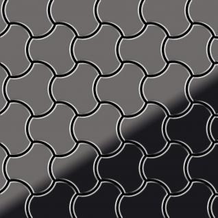 Mosaik Fliese massiv Metall Titan hochglänzend in dunkelgrau 1, 6mm stark ALLOY Ubiquity-Ti-SM Designed by Karim Rashid 0, 75 m2