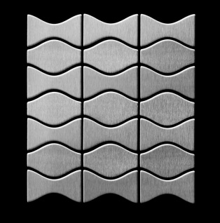 Mosaik Fliese massiv Metall Edelstahl marine gebürstet in grau 1, 6mm stark ALLOY Kismet & Karma-S-S-MB Designed by Karim Rashid 0, 86 m2 - Vorschau 3