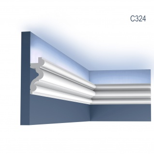Eckleiste Orac Decor C324 LUXXUS AUTOIRE Zierleiste Stuckleiste Indirekte Beleuchtung Zeitloses Klassisches Design weiß 2 m