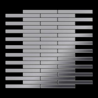 Mosaik Fliese massiv Metall Edelstahl hochglänzend in grau 1, 6mm stark ALLOY Deedee-S-S-M 0, 63 m2 - Vorschau 3
