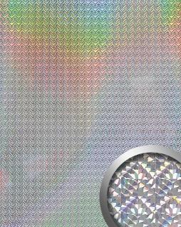 Wandpaneel Metall-Dekor Wandverkleidung WallFace 10175 DECO GALAXY glänzend spiegelnd selbstklebend silber 2, 60 qm