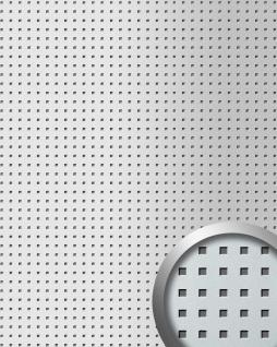 Wandpaneel Quadratloch 3D Dekor WallFace 10988 QUAD Design Wandplatte selbstklebend silber metallic 2, 60 qm