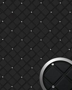 Wandpaneel Leder Design Glas Kristallen Dekor WallFace 15034 CRISTAL ROMBO Wandplatte selbstklebend schwarz | 2, 60 qm