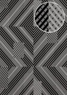 Grafik Tapete ATLAS XPL-564-7 Vliestapete strukturiert mit geometrischen Formen schimmernd silber anthrazit anthrazit-grau silber 5, 33 m2
