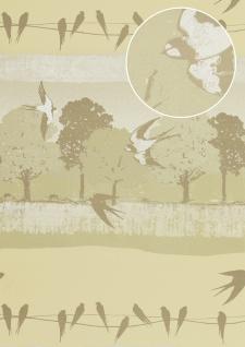 Vogel Tapete Atlas SIG-583-1 Vliestapete glatt mit Landschaften und metallischen Akzenten creme hell-elfenbein grau-beige perl-weiß 5, 33 m2