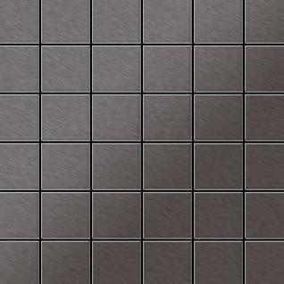 Mosaik Fliese massiv Metall Titan gebürstet in dunkelgrau 1, 6mm stark ALLOY Cinquanta-Ti-SB 0, 94 m2