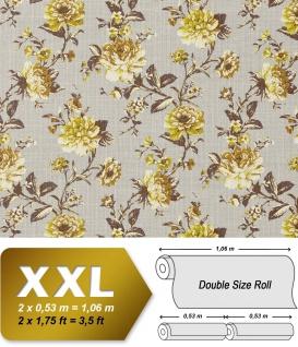 Blumen Tapete Vlies EDEM 603-91 XXL Blumentapete Floral Textilstruktur Muster mit Blättern Retro-look grau grün braun 10, 65 qm