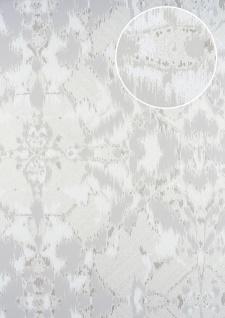 Spachtel Putz Tapete ATLAS HER-5130-3 Vliestapete geprägt im Landhaus-Stil schimmernd beige perl-weiß perl-hell-grau 7, 035 m2
