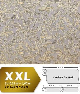 Blumen Tapete XXL Vliestapete EDEM 923-37 Elegantes florales Design Muster Metallic Effekt grau gold metallic 10, 65 m2
