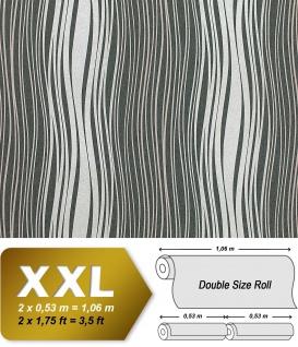 Streifen Tapete Vliestapete EDEM 695-96 Designer Tapete geschwungene Linien Glitzereffekt dunkel-grau silber 10, 65 qm