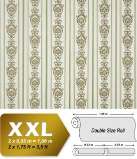 3D Barock Tapete Streifen XXL Vliestapete EDEM 660-95 Elegantes Barockmuster Textil-Optik grün gold creme hellbraun 10, 65 m2