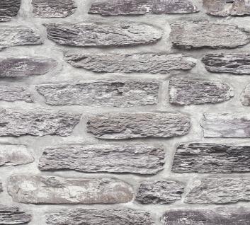 Stein Kacheln Tapete Profhome 364781-GU Vliestapete glatt in Steinoptik matt grau schwarz 5, 33 m2