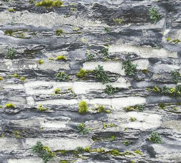 Stein Kacheln Tapete Profhome 364921-GU Vliestapete glatt in Steinoptik matt grau schwarz 5, 33 m2
