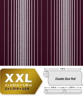 Streifen Tapete Vliestapete EDEM 973-35 XXL Design Tapete gestreifte Objekttapete violett aubergine silber grau 10, 65 qm