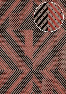 Grafik Tapete ATLAS XPL-564-6 Vliestapete strukturiert mit geometrischen Formen schimmernd silber rot achat-grau alt-rosa 5, 33 m2