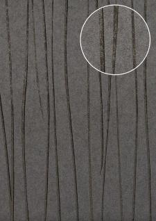 Edle Streifen Tapete Atlas COL-568-1 Vliestapete glatt Design schimmernd grau platin-grau anthrazit-grau 5, 33 m2