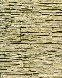 Stein Tapete EDEM 1003-35 Tapete Naturstein Bruch-Stein Mauer Optik geprägte Struktur hochwaschbar weiß hell grün olive