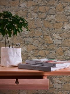 Stein Kacheln Tapete Profhome 958631-GU Vliestapete glatt in Steinoptik matt braun beige schwarz 5, 33 m2 - Vorschau 4