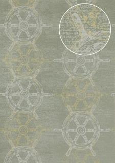 Grafik Tapete Atlas SIG-585-5 Vliestapete glatt im maritimen Design und metallischen Akzenten grau grün-grau weiß gold 5, 33 m2