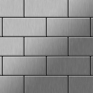 Mosaik Fliese massiv Metall Edelstahl gebürstet in grau 1, 6mm stark ALLOY Subway-S-S-B 0, 58 m2