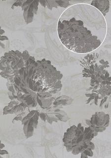Blumen Tapete Atlas TEM-5109-6 Vliestapete strukturiert mit Paisley Muster und Metallic Effekt silber staub-grau weiß grün-beige 7, 035 m2