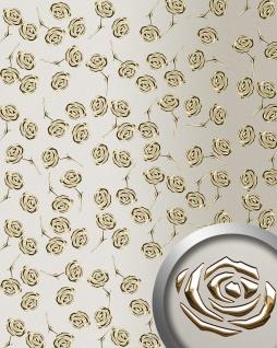 Dekorpaneel Rosen Dekor WallFace 13920 3D ROSE Blumen Design Paneel selbstklebend gold champagner   2, 60 qm