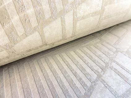 Grafik Tapete ATLAS HER-5138-3 Vliestapete geprägt mit Streifen schimmernd elfenbein perl-hell-grau silber 7, 035 m2 - Vorschau 3