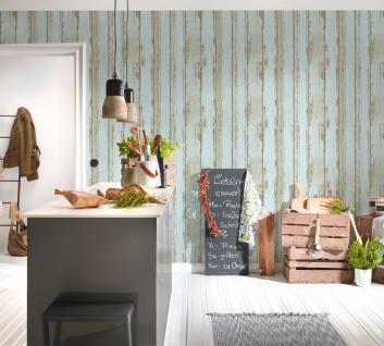 Holz Tapete Profhome 368933-GU Vliestapete glatt in Holzoptik matt blau braun schwarz 5, 33 m2 - Vorschau 4
