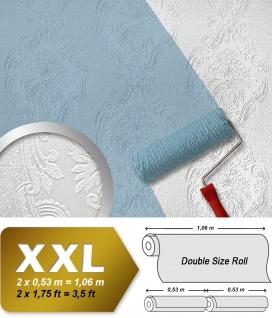 Barock Tapete EDEM 83008BR60 Vliestapete zum Überstreichen strukturiert mit Ornamenten matt weiß 26, 50 m2