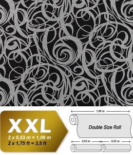 3D Vliestapete Grafiktapete XXL EDEM 971-39 Design geschwungene Linien abstraktes Wirbelmuster Schwarz silber 10, 65 qm