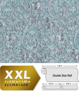 Barock Tapete EDEM 9016-39 Vliestapete geprägt mit floralen Ornamenten und metallischen Akzenten blau türkis silber 10, 65 m2