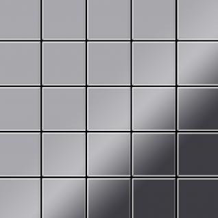 Mosaik Fliese massiv Metall Edelstahl marine hochglänzend in grau 1, 6mm stark ALLOY Century-S-S-MM 0, 5 m2
