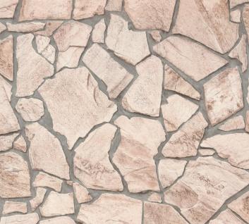 Stein Kacheln Tapete Profhome 927323-GU Vliestapete glatt in Steinoptik matt beige grau 5, 33 m2