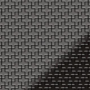 Mosaik Fliese massiv Metall Titan hochglänzend in dunkelgrau 1, 6mm stark ALLOY Swiss Cross-Ti-SM 0, 88 m2