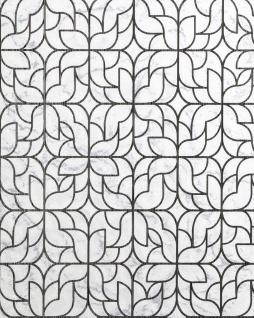 Grafik Tapete EDEM 85074BR30 Tapete leicht strukturiert mit Ornamenten glänzend weiß hell-grau schwarz silber 5, 33 m2