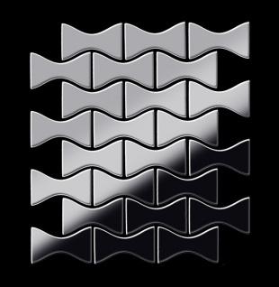 Mosaik Fliese massiv Metall Edelstahl hochglänzend in grau 1, 6mm stark ALLOY Kismet-S-S-M Designed by Karim Rashid 0, 86 m2 - Vorschau 3