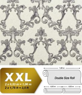 Barock Tapete EDEM 9085-27 heißgeprägte Vliestapete geprägt mit floralen 3D Ornamenten schimmernd weiß silber grau 10, 65 m2
