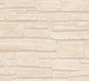 Stein Kacheln Tapete Profhome 662323-GU Vliestapete glatt in Steinoptik matt beige creme braun 5, 33 m2
