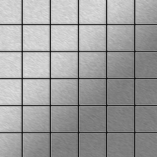 Mosaik Fliese massiv Metall Edelstahl marine gebürstet in grau 1, 6mm stark ALLOY Cinquanta-S-S-MB 0, 94 m2