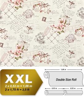 Landhaus Tapete Vliestapete XXL EDEM 904-15 Romantische Mustertapete Blumen Vögel rosa altrosa grün braun 10, 65 m2