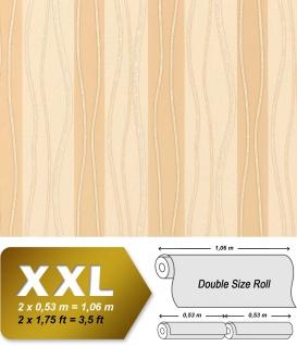 Streifen Vliestapete EDEM 955-21 XXL Tapete hochwertige geprägte Designer-Tapete beige braun creme gold 10, 65 qm
