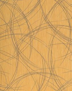 Grafik Tapete EDEM 1021-11 Designer Vinyl Tapete grafisches Linien-Muster Struktur metallic look gelb gold