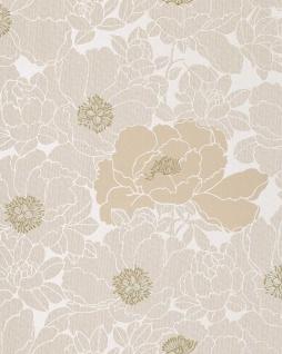 Blumen Tapete EDEM 025-23 Blumentapete Designer Floral harmonische Farbkombination beige perlweiß kakao-braun bronze - Vorschau 1