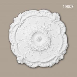 Rosette PROFHOME 156027 Zierelement Deckenelement Rokoko Barock Stil weiß Ø 38, 3 cm