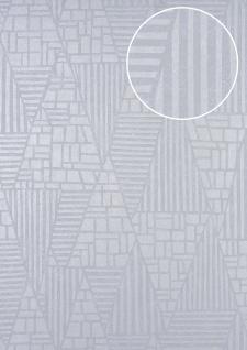 Grafik Tapete ATLAS HER-5138-3 Vliestapete geprägt mit Streifen schimmernd elfenbein perl-hell-grau silber 7, 035 m2 - Vorschau 1