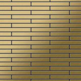 Mosaik Fliese massiv Metall Titan gebürstet in gold 1, 6mm stark ALLOY Deedee-Ti-GB 0, 63 m2