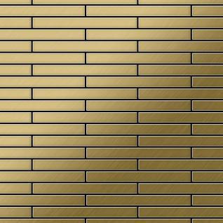 Mosaik Fliese massiv Metall Titan gebürstet in gold 1, 6mm stark ALLOY Deedee-Ti-GB 0, 78 m2