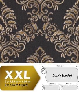 Barock Tapete EDEM 9084-29 heißgeprägte Vliestapete geprägt mit floralen Ornamenten und metallischen Akzenten anthrazit gold silber 10, 65 m2